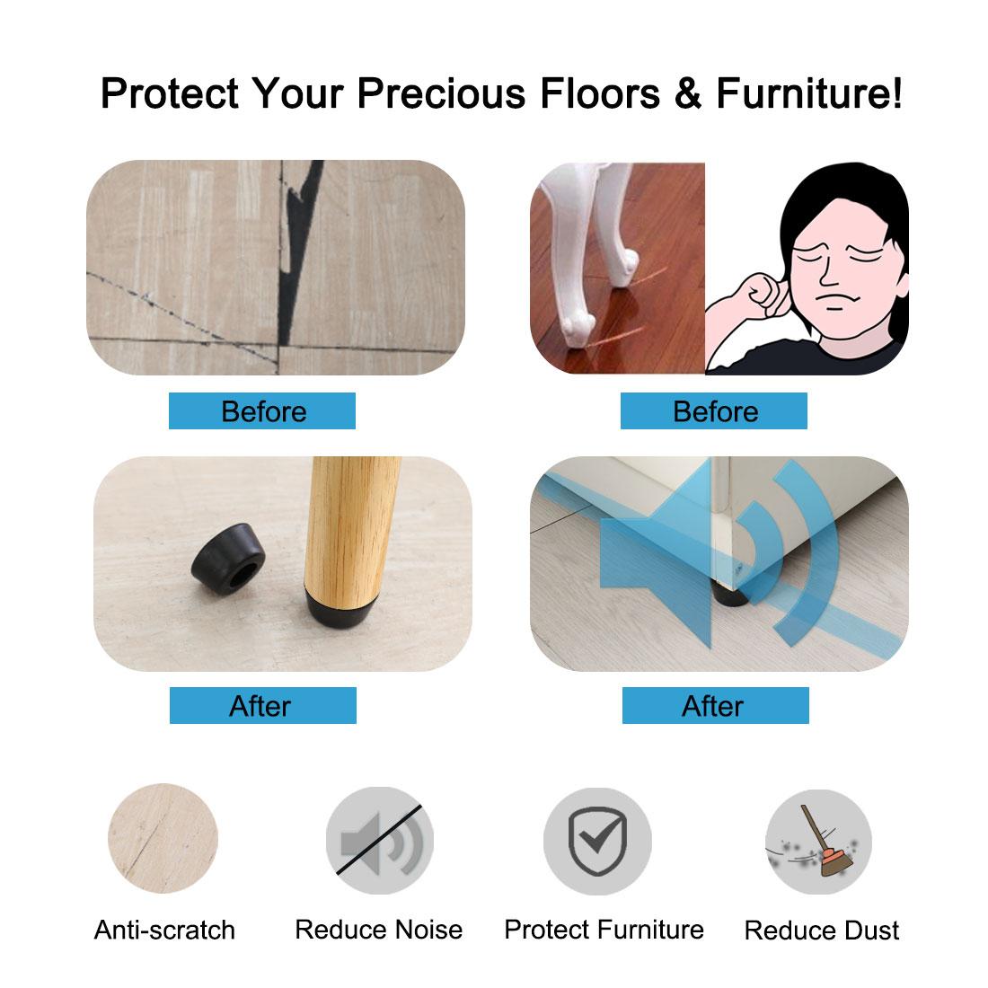 100pcs Rubber Feet Bumper Buffer Desk Leg Pads with Metal Washer, D25x21xH13mm - image 5 de 7
