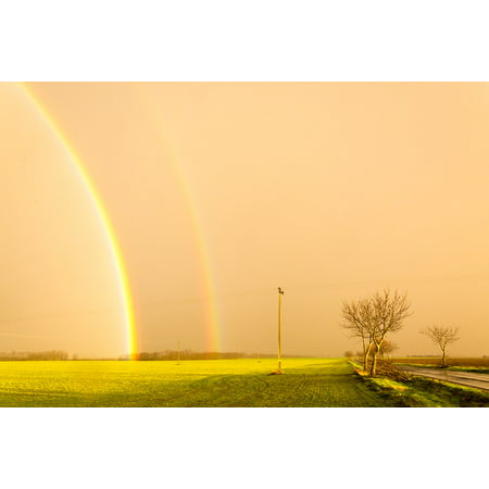 LAMINATED POSTER Meadow Sunset Storm Yellow Rainbow Sunshine Poster Print 24 x 36 for $<!---->