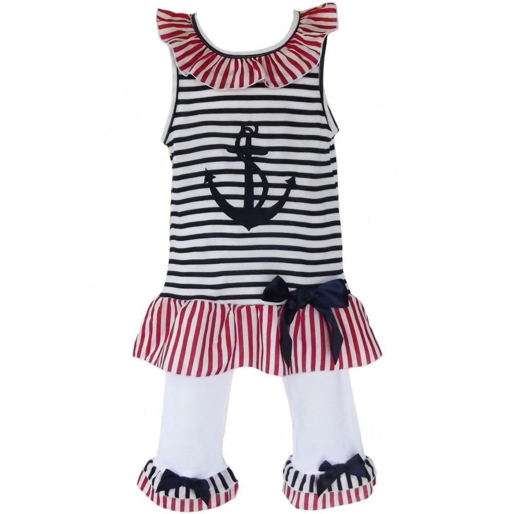 AnnLoren Little Girls White Striped Patriotic Sailor Tuni...