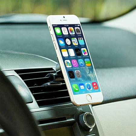 Premium Magnetic Car Mount AC Air Vent Holder Rotating Dock Stand Extra Strong Grip 3D for iPhone 5 5C 5S 6 Plus 6S Plus 7 Plus SE - Google Pixel XL - HTC 10, Bolt, U11 - Huawei P10 P9 - LG G5 (Pixel Gun 3d Best Skins)