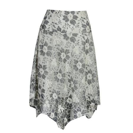 Rachel Rachel Ivory Black Combo Lace A-Line Skirt 20W