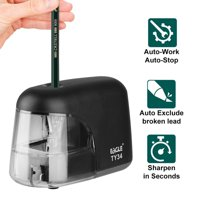 TSV Automatic Electric Pencil Sharpener, Professional, Home and Office - Small, Durable, Kid Friendly, Black