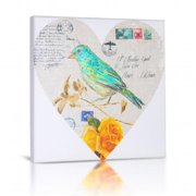 Green Fog GF0023 Bird In Heart I Canvas Gallery Wrapped Art