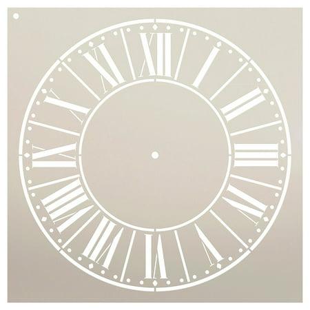 Farmer's Market Clock Face Stencil by StudioR12 | Roman Numeral Clock Art - Reusable Mylar Template | Painting, Chalk, Mixed Media | DIY Decor - STCL2334 - SELECT SIZE (18