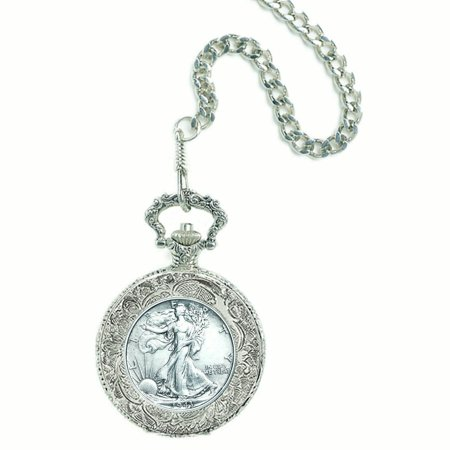 Silver Walking Liberty Half Dollar Coin Pocket Watch