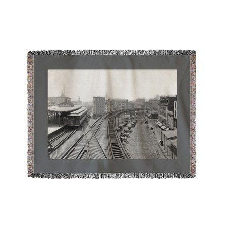 Elevated Railroad Station at Chatham Square NYC Photo (60x80 Woven Chenille Yarn Blanket)