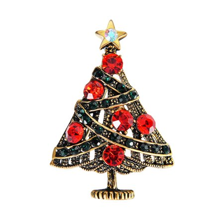 Girl Brooch Pin (Women Girls Delicate Special Christmas Tree Rhinestone Studded Breastpin Cartoon Ornament Pin Christmas Gifts)