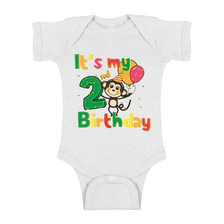 Awkward Styles Cute Monkey One Piece Birthday Baby Bodysuit Monkey Gifts for 2 Year Old Monkey Birthday Party Birthday Baby Boy One Piece Top Monkey Baby Girl Bodysuit 2nd Birthday Party for Baby](Gifts For 2 Year Olds)