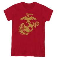 Trevco Sportswear USMC111-WT-2 Womens US Marine Corps & Gold Emblem Short Sleeve T-Shirt, Cardinal - Medium