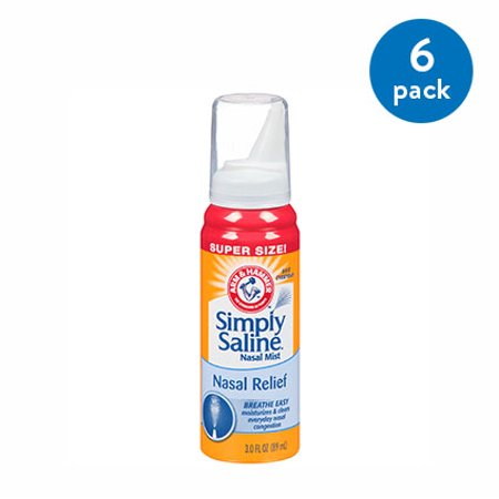 551892dcb491 (6 Pack) Arm   Hammer™ Simply Saline™ Nasal Relief Nasal Mist 3.0  fl. oz. Spout-Top Can - Walmart.com