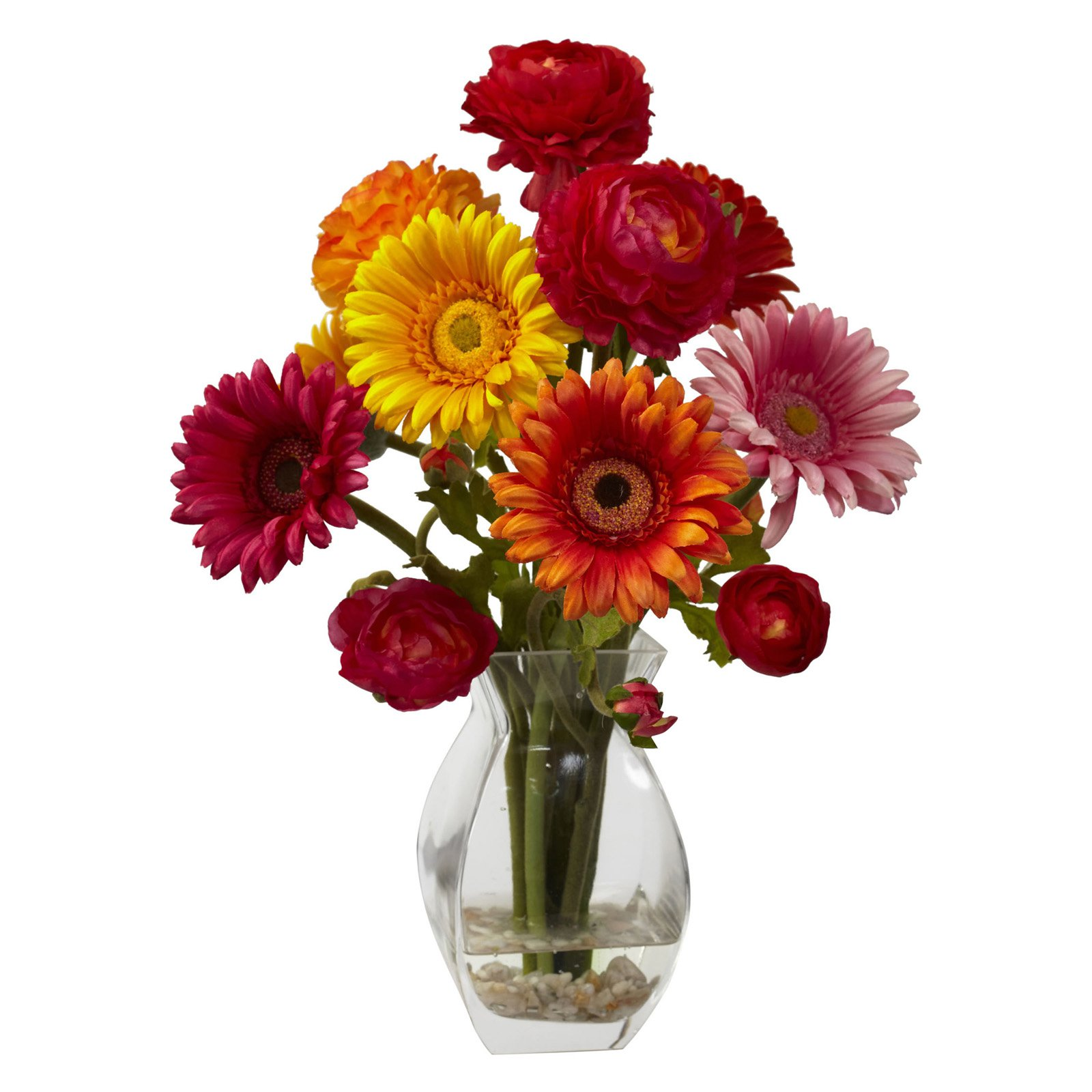 Nearly Natural Gerber Daisy and Ranunculus Delight Arrangement, Assorted