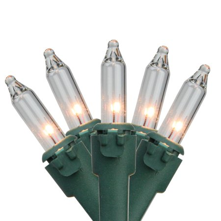 """Set of 35 Clear Mini Christmas Lights 2.5"""" Spacing - Green (10 Clear Lights Green Wire)"""