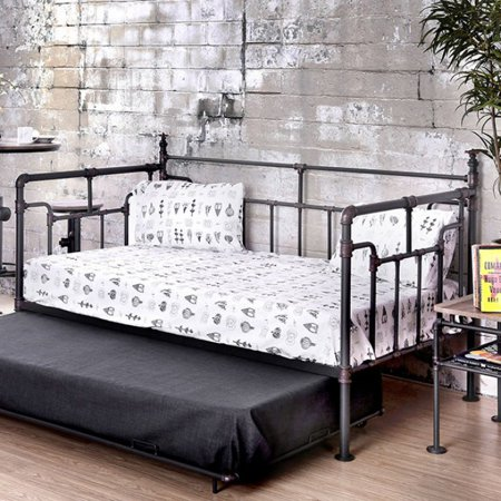 Pipe Inspired Industrial Style Metal Daybed Black