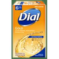 Dial Antibacterial Deodorant Bar Soap, Gold, 4 Ounce, 6 Bars