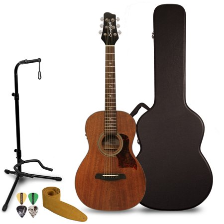 Sawtooth Solid Top Mahogany Dreadnought Acoustic-Electric Guitar with Hard Case and