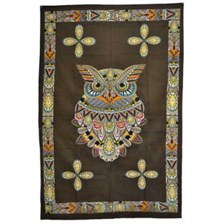 Tapestry Majestic Owl of Knowledge Brown Orange Tan Can Be Used As Bedspread Wall Hanging Table Cloth Cover 54
