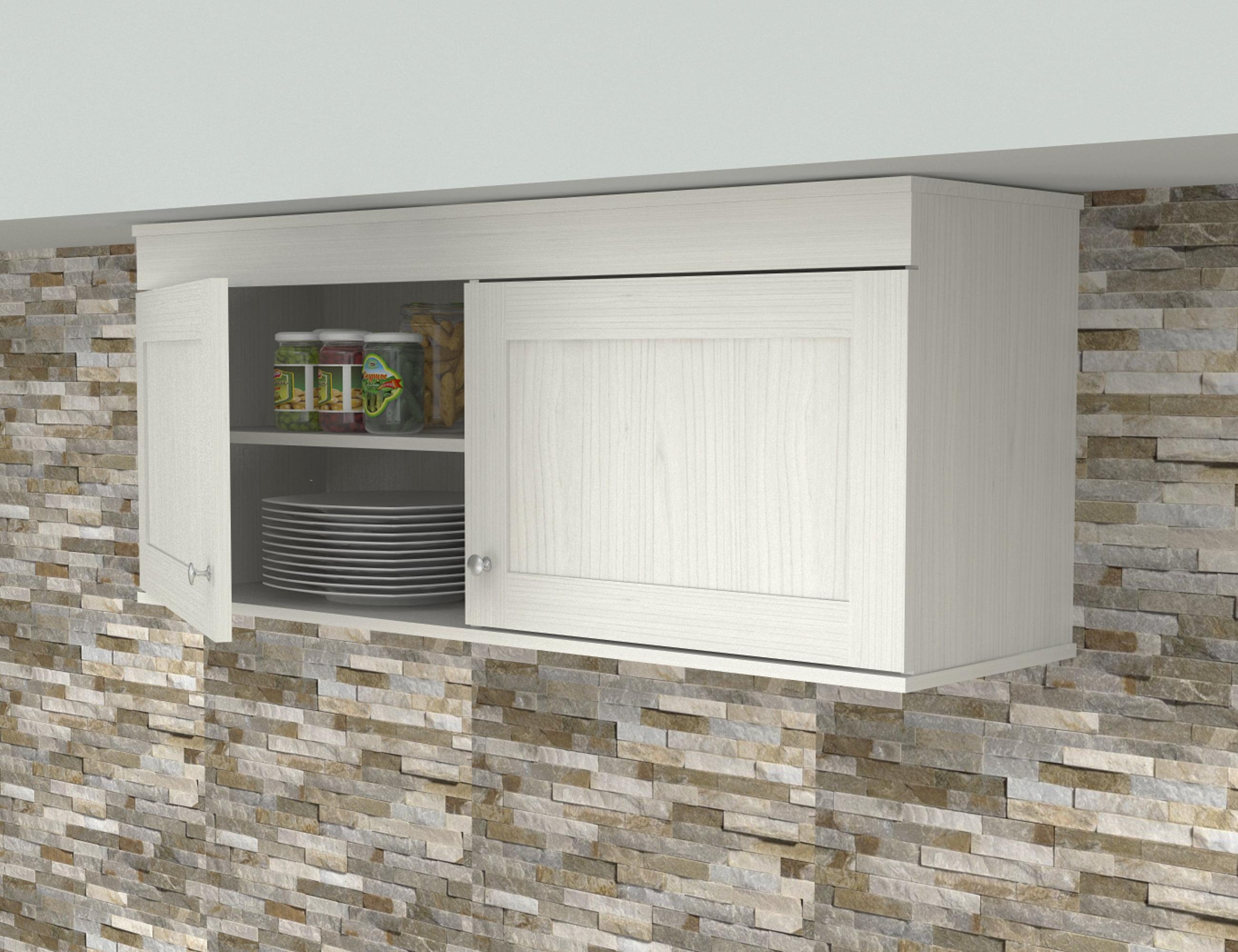Inval Shaker Wall Mounted 2 Door Laminate Kitchen Cabinet Washed Oak Walmart Com Walmart Com