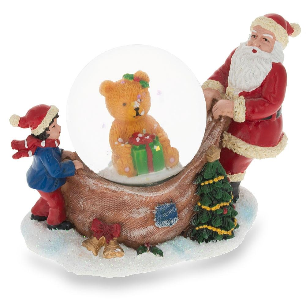 """3"""" Santa and a Child Opening a Christmas Gift with a Teddy Bear Inside Miniature Snow Globe"""