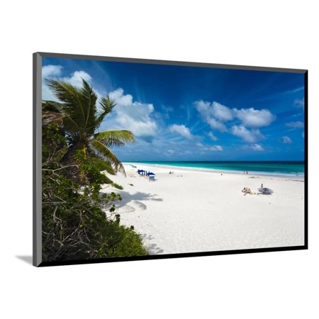 Bahamas Cross - View of tourists on Pink Sands Beach, Dunmore Town, Harbour Island, Eleuthera Island, Bahamas Wood Mounted Print Wall Art