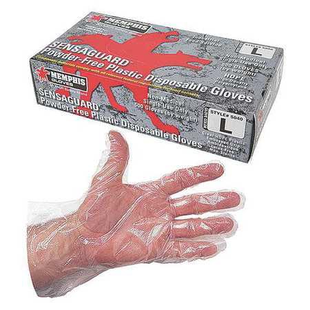 MCR SAFETY Disp. Gloves,Polyethylene,L,Clear,PK500 5040