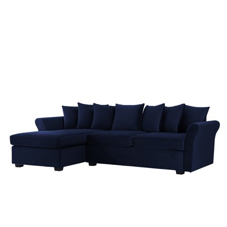 Large Velvet Sectional Sofa L Shape Couch With Extra Wide Chaise Lounge Navy