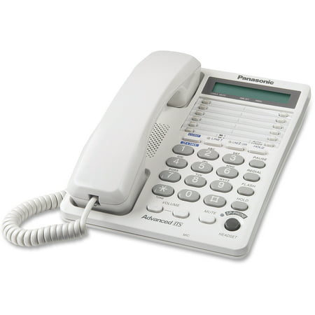 - Panasonic, PANKXTS208W, LCD Display 2-line Speakerphone, 1, White