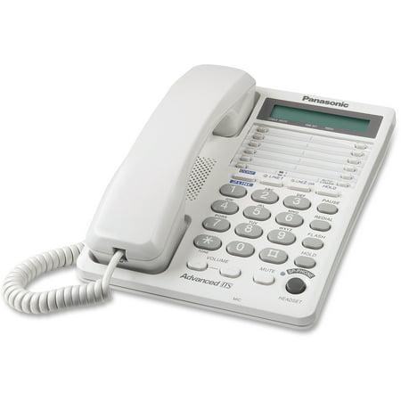 - Panasonic, PANKXTS208W, LCD Display 2-line Speakerphone, 1, White