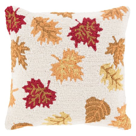 Surya Fall Harvest Leaves Decorative Throw Pillow