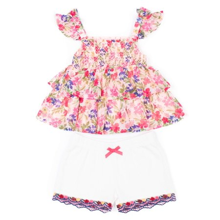 Sleeveless Floral Tiered Top & Shorts, 2-Piece Outfit Set - 6-9 Months Halloween Outfit
