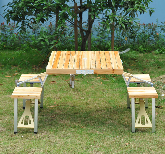 Outsunny Portable Outdoor Camp Suitcase Folding Picnic Table W/ 4 Seats