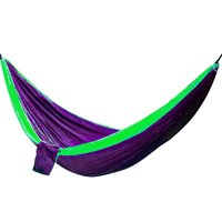 Portable Two Person Hammock - Purple with Green