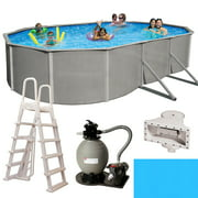 Belize 12-ft x 24-ft Oval 52-in Deep 6-in Top Rail Metal Wall Swimming Pool Package