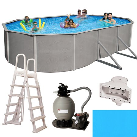 Blue Wave Belize Oval 52-in Deep 6-in Top Rail Metal Wall Swimming Pool Package Deep Swimming Pool Package