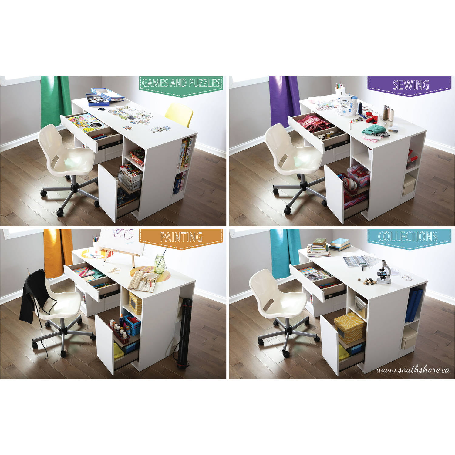 amazing south shore crea collection craft table white #1 - Walmart.com