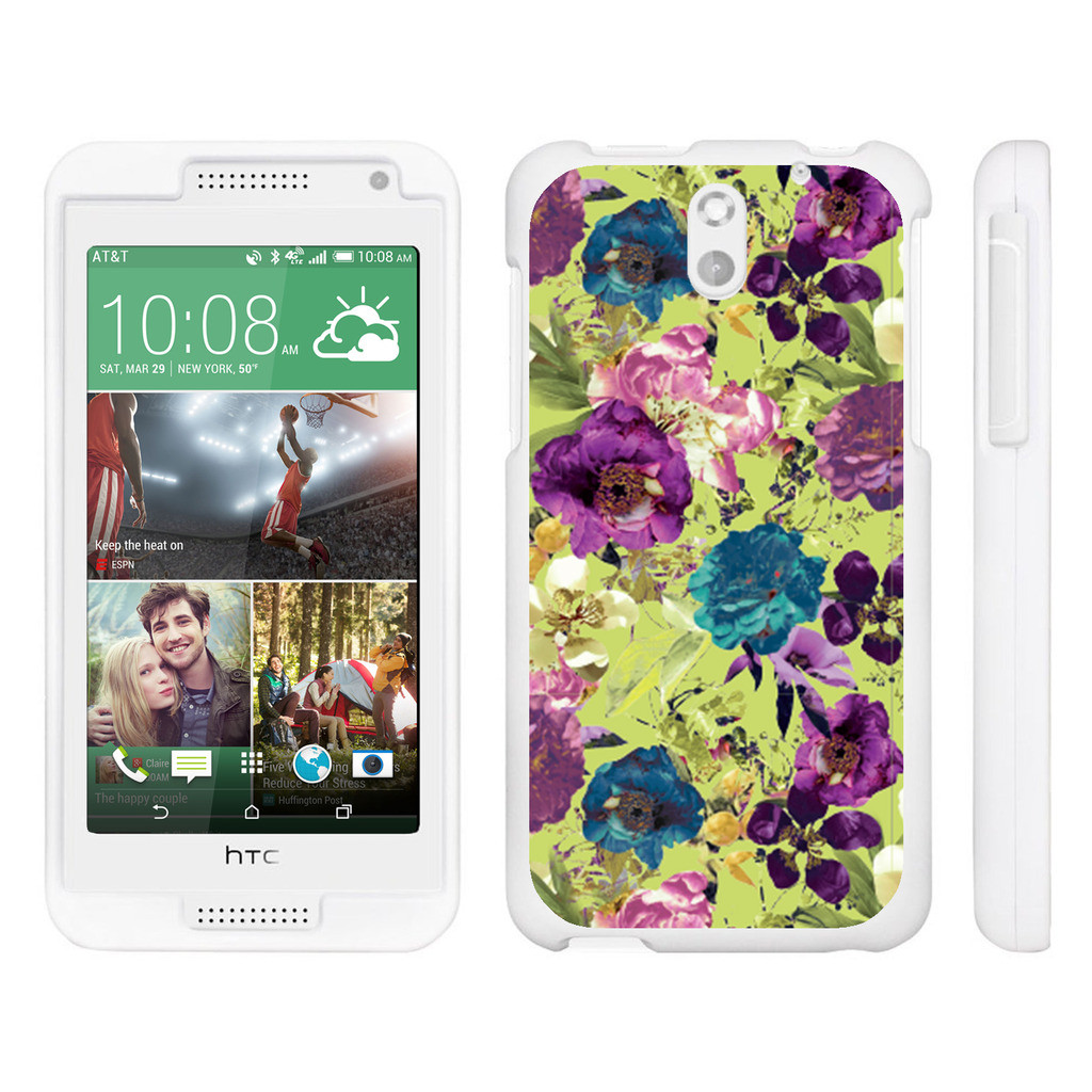 HTC Desire 610, [SNAP SHELL][White] Hard White Plastic Case with Non Slip Matte Coating with Custom Designs - Yellow Purple Flowers