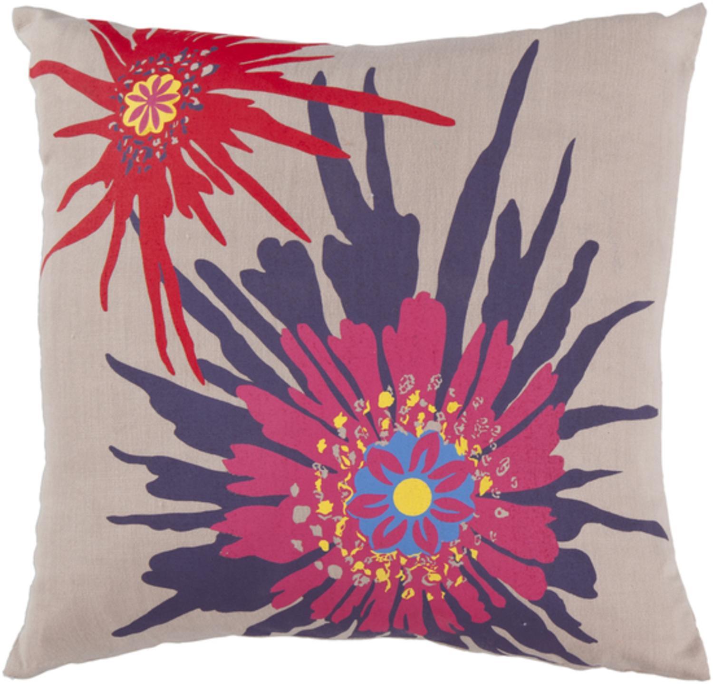 "18"" Summer Bloom Cream and Fuschia Decorative Throw Pillow"