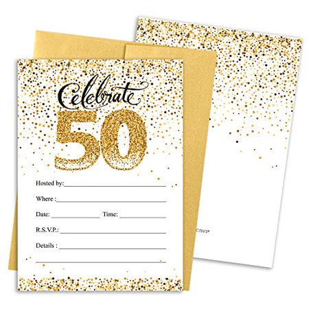 white and gold 50th party invitations with envelopes 25 count