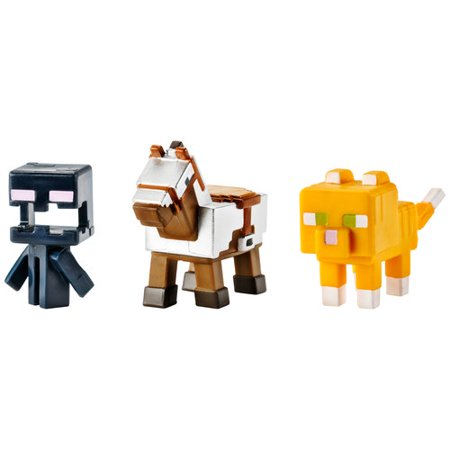 Minecraft Mini Figures 3-pack, Armored Horse, Screaming Enderman and Tabby Cat