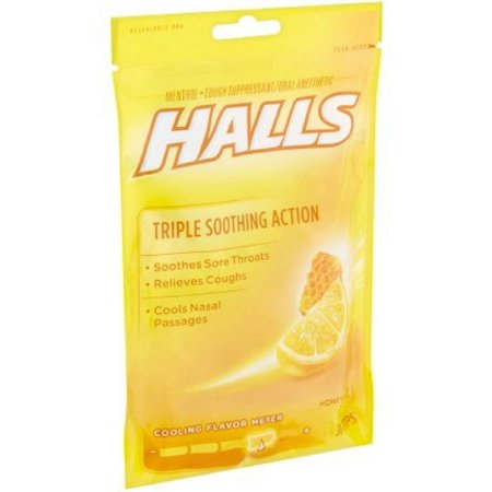 6 Pack   Halls Triple Soothing Action Cough Drops  Honey Lemon 30 Each