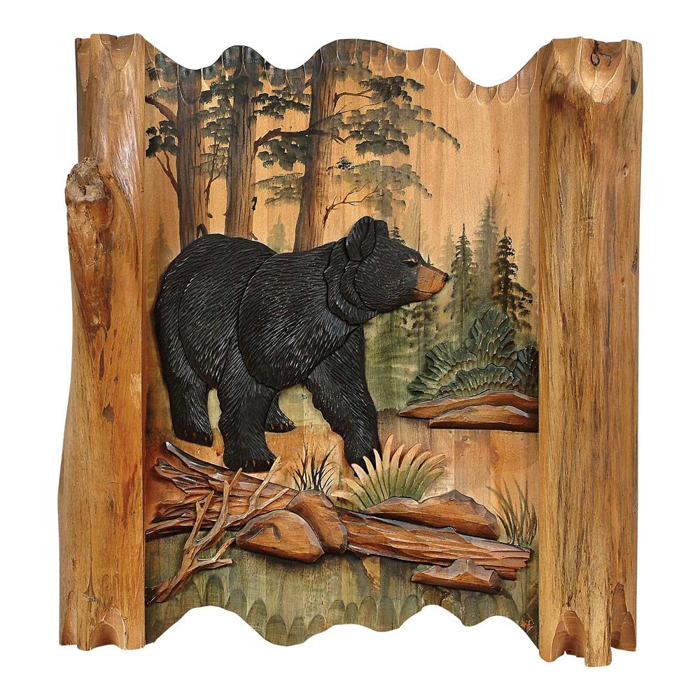 Black Bear Forest Carved Wood Lodge Wall Art - Lodge Decor