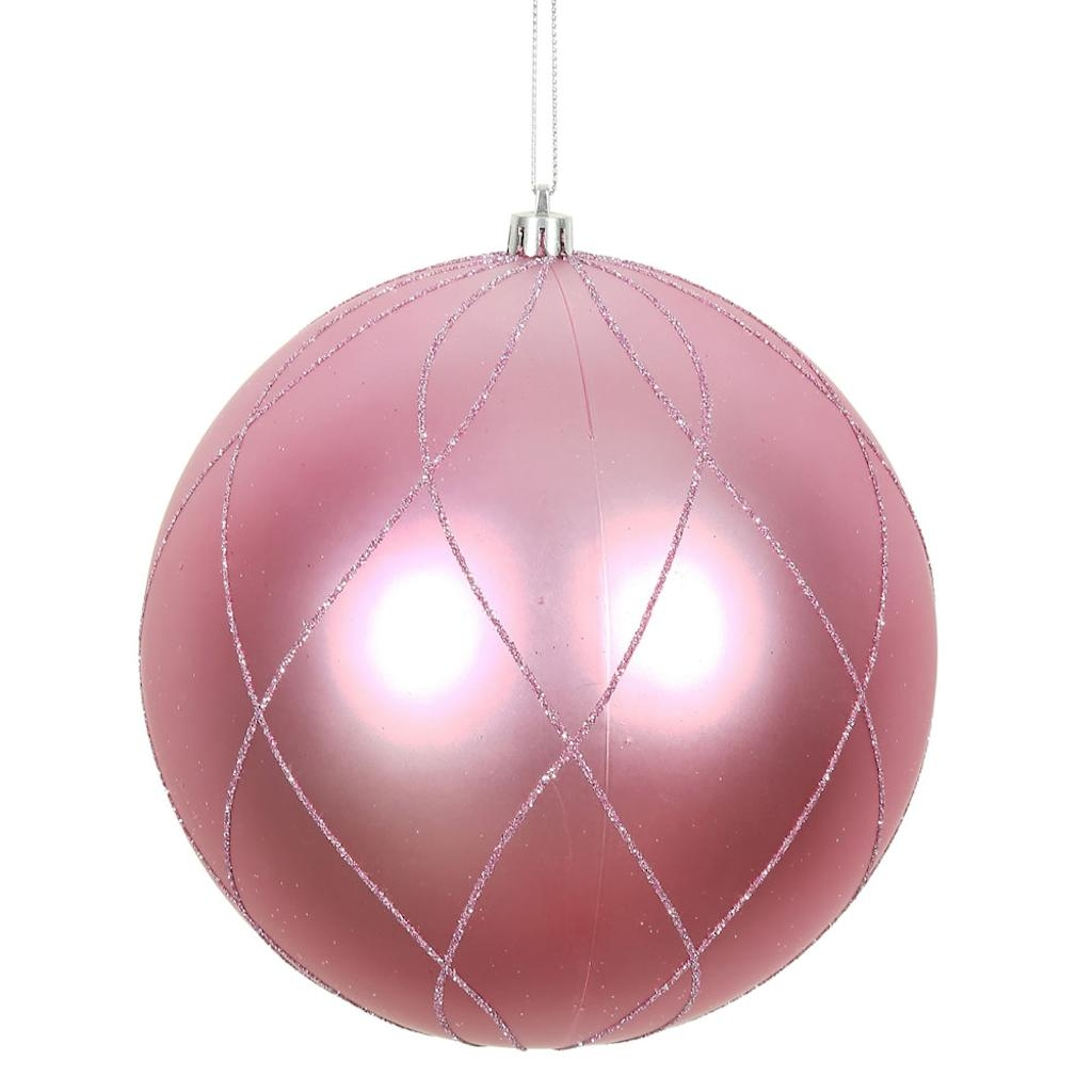 "Vickerman 471463 - 4"" Pink Matte and Glitter Swirl Ball Christmas Tree Ornament (4 pack) (N170679D)"
