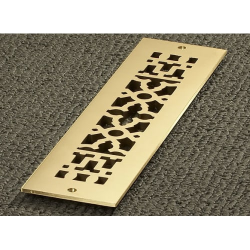 """Reggio Registers 414-BNH Scroll Series 12"""" x 2-1/4"""" Floor Grille without Mounting Holes"""
