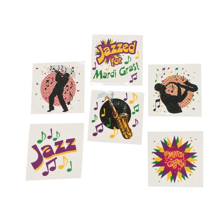 Mardi Gras Jazz Tattoo Assortment for Mardi Gras - Apparel Accessories - Temporary Tattoos - Regular Tattoos - Mardi Gras - 72 Pieces](Makeup For Mardi Gras)