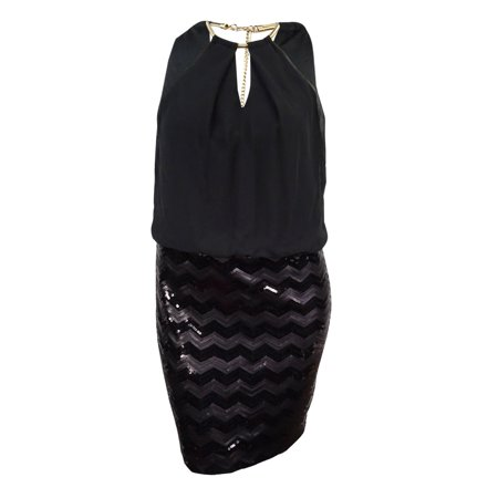 Black Sequin Halter - Guess LA Women's Halter Chiffon Sequin Dress (14, Black)