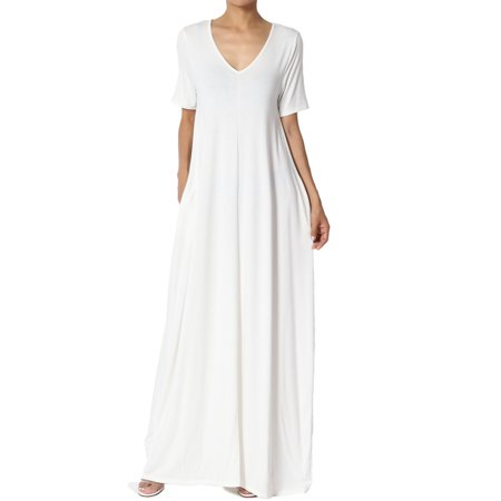 TheMogan Women's S~3X Soft Jersey Oversized V-Neck Short Sleeve Maxi Dress W Pocket