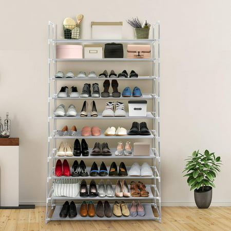 Shoe Rack 10-Tier 50 Pair Adjustable Free Standing Space Saving Utility Storage Organizer Unit Entryway Hallway Shelf Shoe Tower ()