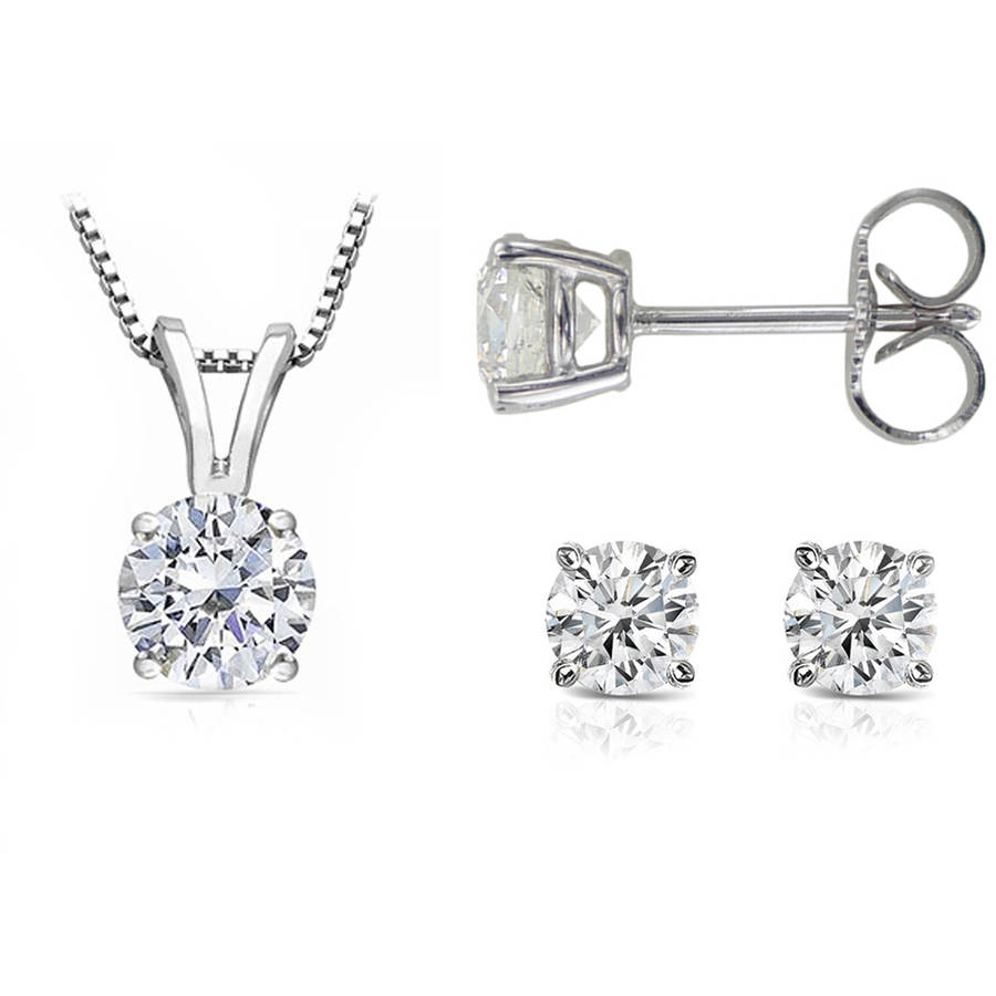 Chetan Collection 1 Carat T.W. Diamond 10kt White Gold Round-Shape Pendant and Earring Set