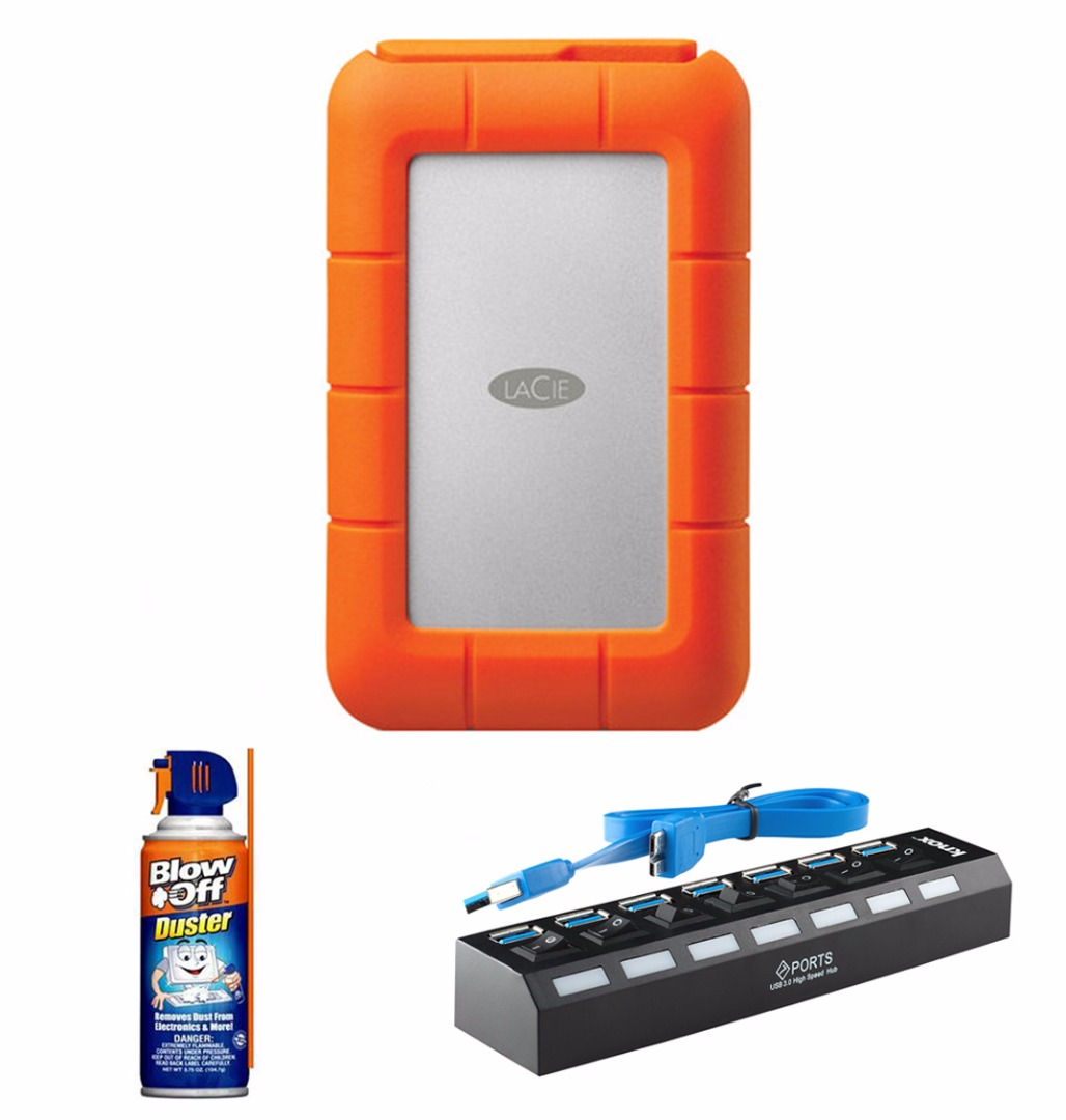 LaCie 1TB Rugged USB Thunderbolt with Professional Blow Off Air Duster Cleaner (3.75oz.) & 7-Port USB 3.0 Hub