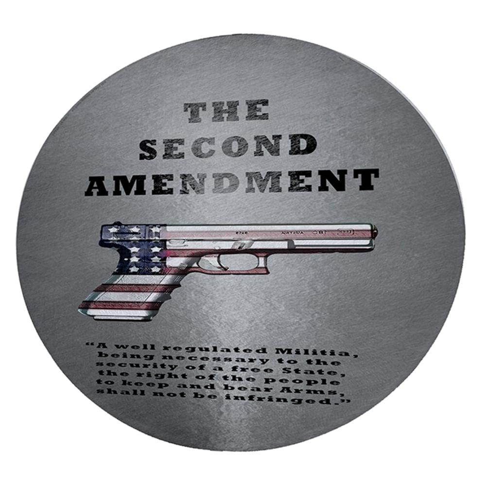 "KuzmarK 12"" Round Glass Cutting Board - Second Amendment American Flag Gun"