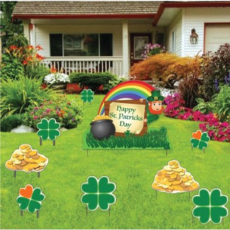 St. Patrick's Day - Yard Decoration - Leprechaun, Shamrocks and Gold (Set of 9 w/20 Short Stakes) for $<!---->